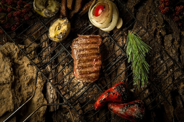 A piece of roasted meat with vegetables on the grill on a background of tree bark