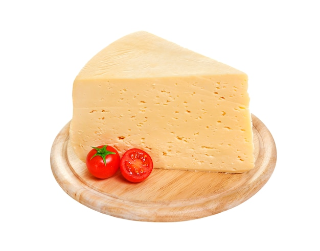 Piece of russian cheese isolated with clipping path