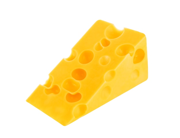 Piece of swiss cheese isolated on white