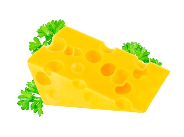 Piece of swiss emmental cheese with leaves