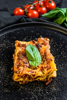 Piece of tasty hot lasagna .traditional italian food. top view