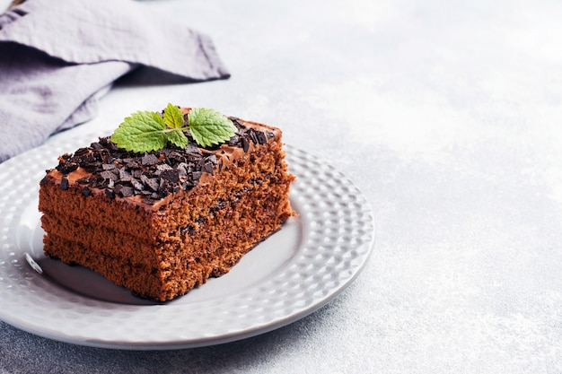 A piece of truffle cake with chocolate on a gray concrete background. copy space
