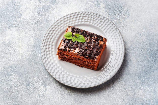 A piece of truffle cake with chocolate
