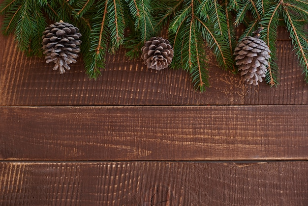 Piece of wreath on the wooden plank