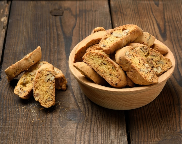 Pieces of baked italian christmas biscotti cookies, top view