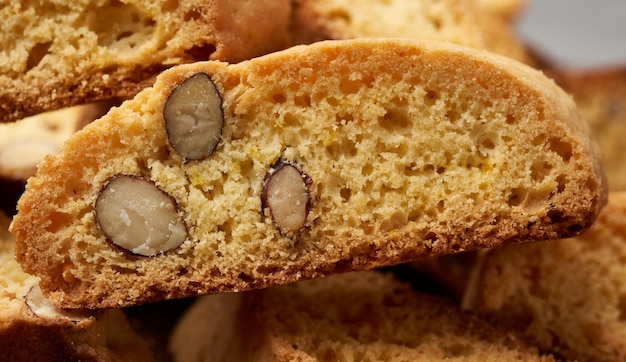 Pieces of baked italian christmas biscotti cookies
