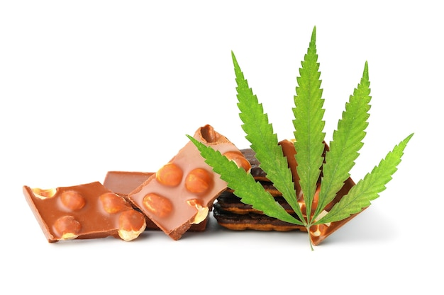 Pieces of delicious marijuana nut chocolate chip cookie with green hemp leaf, chocolate containing cbd, isolated