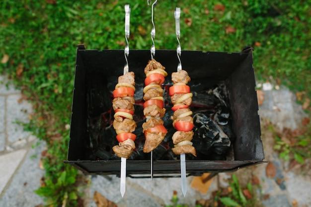 토마토와 양파 링으로 다진 고기 조각