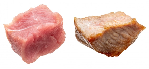 Pieces of raw and cooked turkey meat