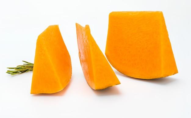 Pieces of raw pumpkin.