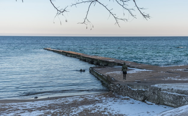 Pier on the beach in winter day