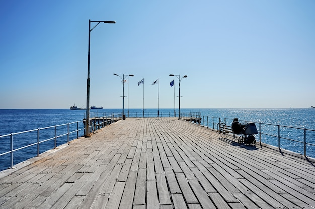Pier in a mediterranean city on a sunny day