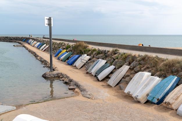 Pier pontoon small harbor port of jard sur mer in vendee france