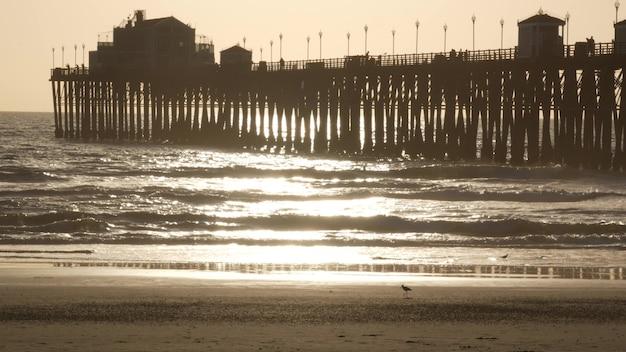 일몰, 캘리포니아 미국, 오션 사이드에서 부두 실루엣. 바다 열 대 해변입니다. 파도 근처 갈매기 새