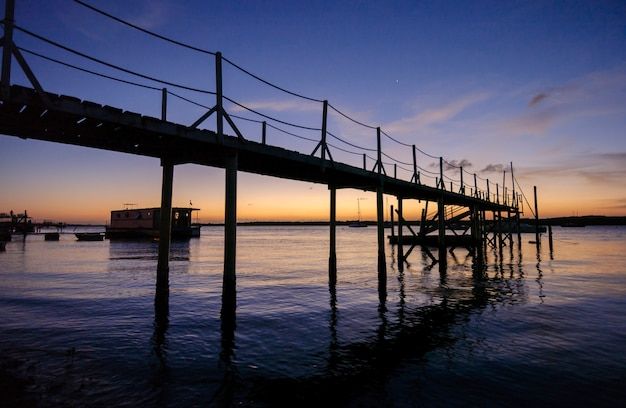 Pier at sunset at jacare beach cabedelo near joao pessoa paraiba brazil on april 3 2004