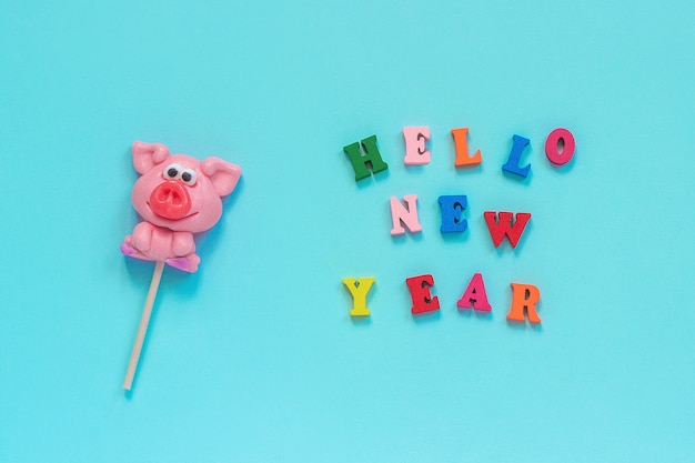 Pig lollipop and text hello new year