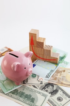 Pig shaped piggy bank, growing graph wood cubes, euro banknotes and us dollars on isolated white background