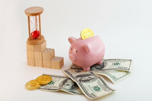 Pig shaped piggy bank with bitcoin coins, hourglass, growing graph wood cubes and us dollars on isolated white background