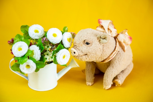 Pig with flowers on yellow background