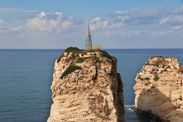 Pigeon cliffs on waterfront of beirut, lebanon