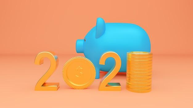 Piggy bank and 2021 banner
