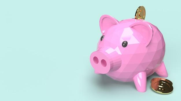 Piggy bank, 3d rendering