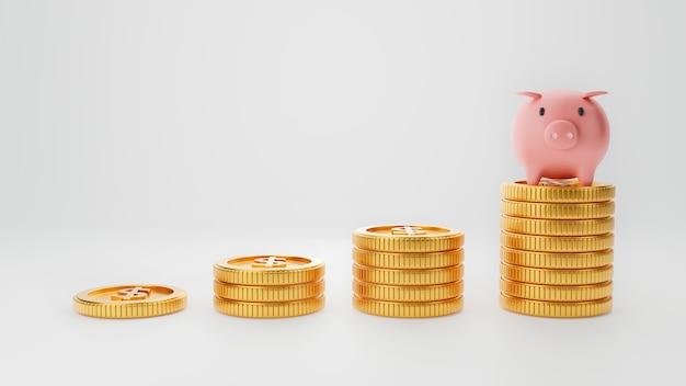 돼지 저금통과 격리 된 흰 벽에 쌓인 돈 타워. 돈 절약 및 비즈니스 경제 투자 개념. 3d 일러스트 렌더링