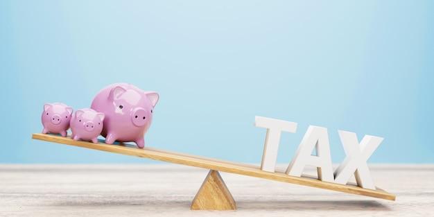 シーソーの貯金箱と税の手紙。 3dイラスト