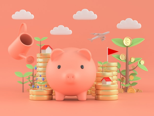 貯金箱とツリーコイン植物受動的income.freedom金融お金の概念。