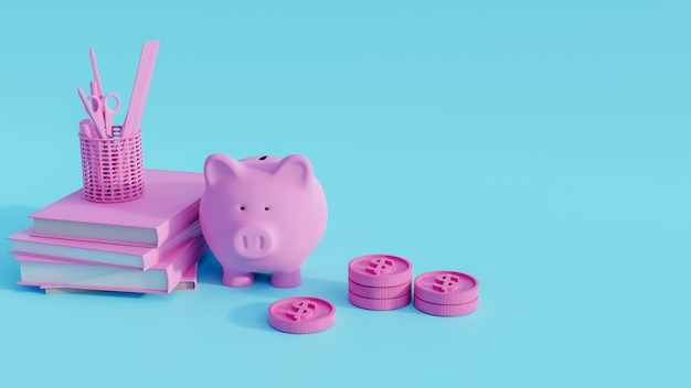Piggy bank on books and coins stack. 3d render.