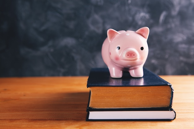 Piggy bank on books on the table