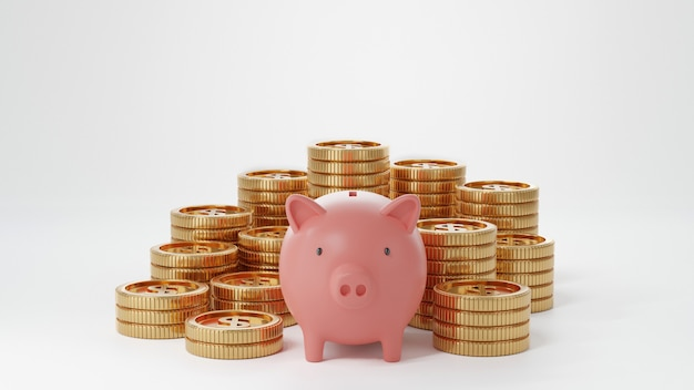Piggy bank and coin stack on a bright background