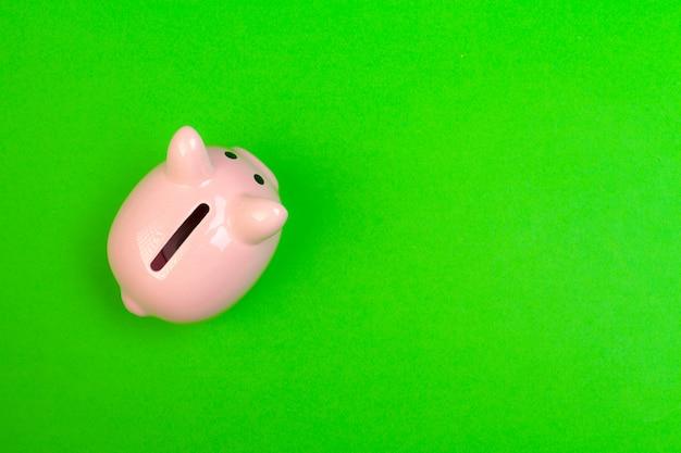 Piggy bank on color background
