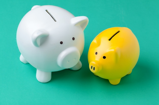 Piggy bank on color green
