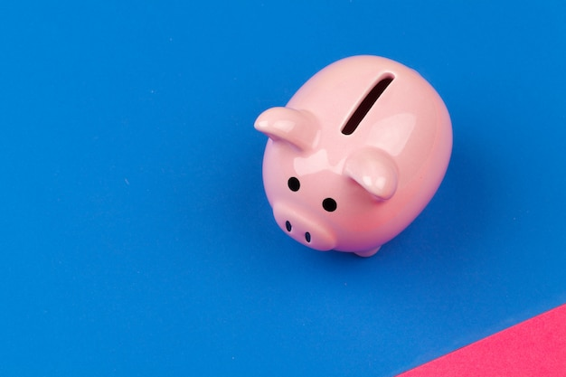 Piggy bank on color