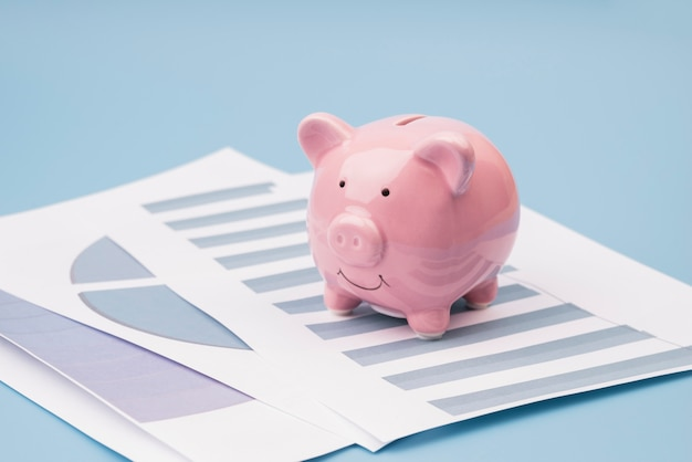 Piggy bank on company documents