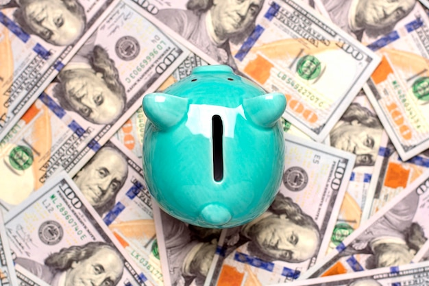 Piggy bank, dollars banknote on blue background buying, sale, investment, banking, loan, insurance