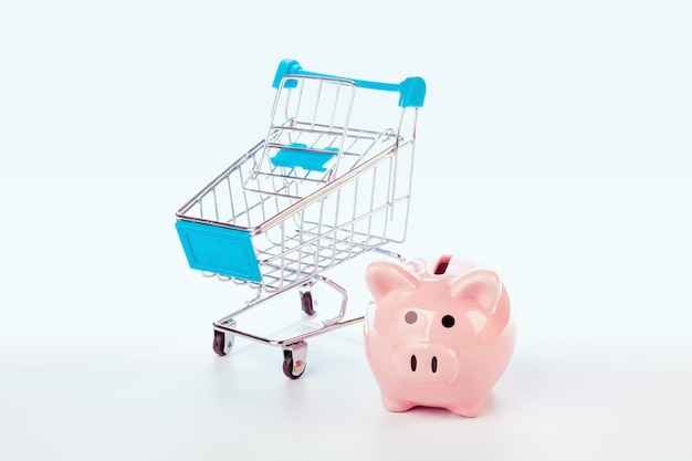 Piggy bank and empty shopping cart isolated on white