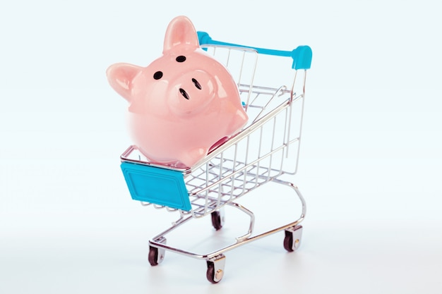 Piggy bank and empty shopping cart isolated