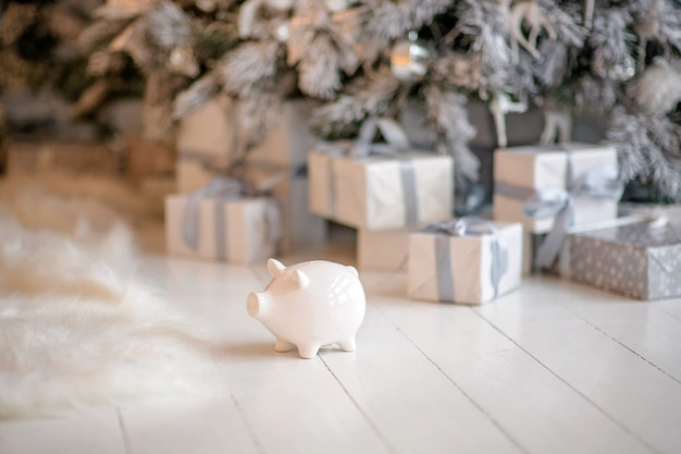 Piggy bank in festive christmas atmosphere