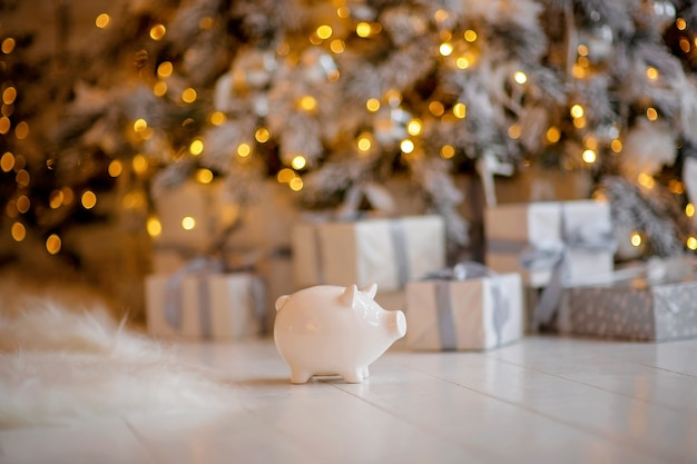 Piggy bank in festive christmas atmosphere