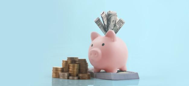 Piggy bank and finance money saving
