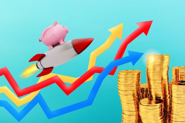 貯金箱は、成長する統計矢印の上をロケットで飛ぶ。お金の急速な増加の概念。
