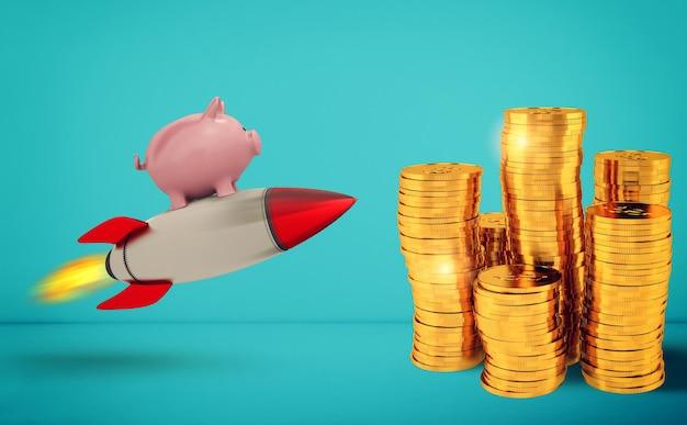 돼지 저금통은 황금 동전에 도달하기 위해 로켓을 타고 날아갑니다. 돈의 빠른 증가의 개념.