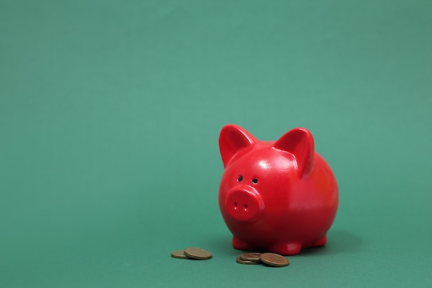Piggy bank in the form of a red pig on a green background
