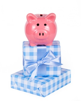 Piggy bank and gift boxes