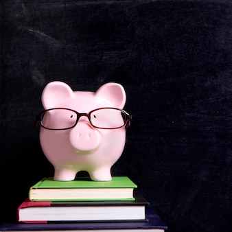 Piggy bank glasses blackboard