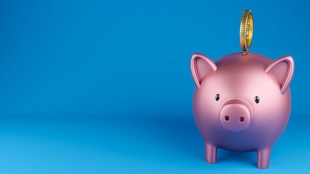 Piggy bank and a gold coin