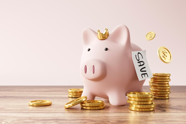 Piggy bank and golden coins on pink background