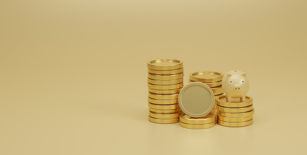 Piggy bank and golden coins stack on yellow background. saving money and financial planning concept. 3d render.